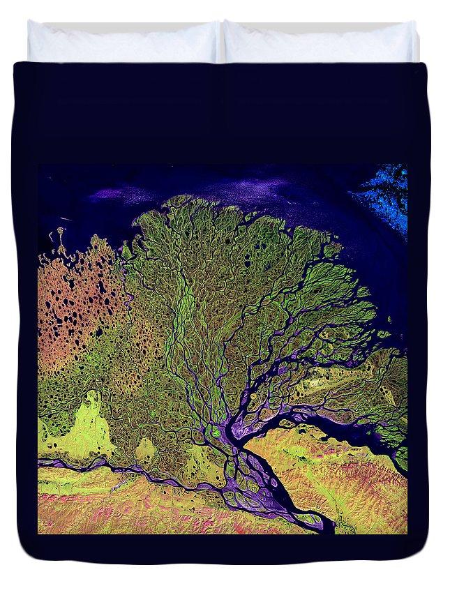 Lena Delta Duvet Cover featuring the photograph Lena Delta by USGS Landsat