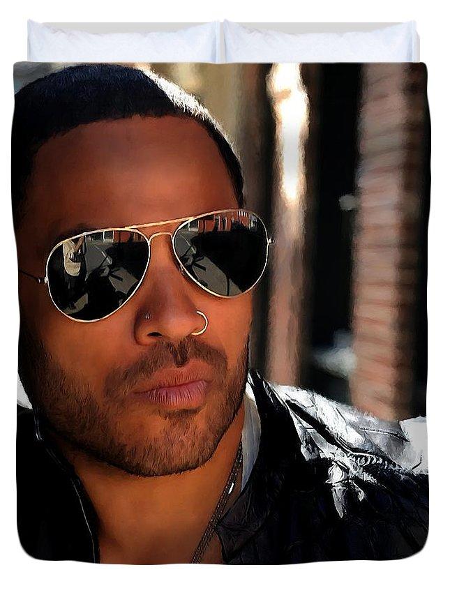 Lenny Kravitz Duvet Cover featuring the digital art Lenny Kravitz by Gabriel T Toro