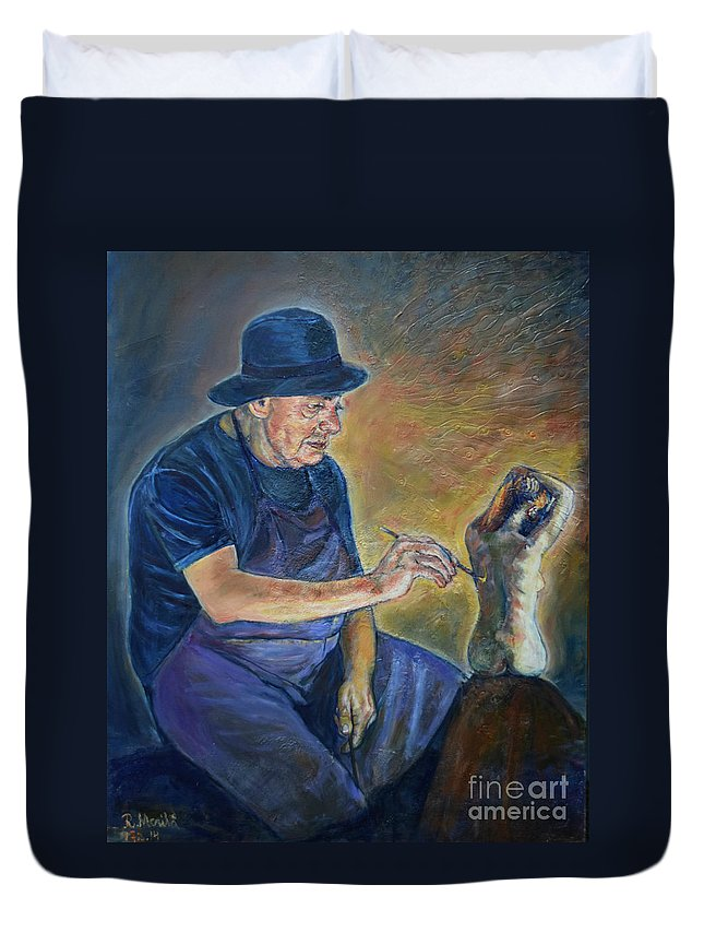 Oil Painting On Canvas Duvet Cover featuring the painting Figurative Painting by Raija Merila