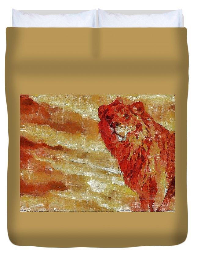 Animals Paintings Duvet Cover featuring the digital art Leon by Galeria Trompiz