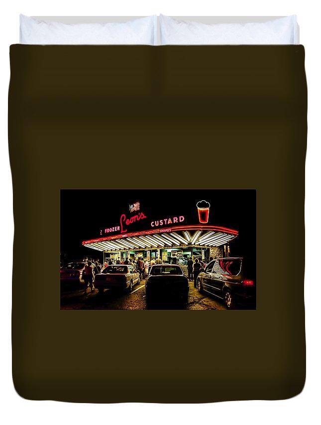 Milwaukee Duvet Cover featuring the digital art Leon's Frozen Custard by Scott Norris