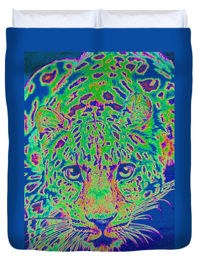 Leopard Duvet Cover featuring the digital art Leopard Eyes Green by Jane Schnetlage