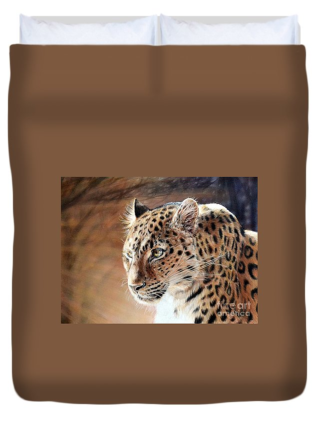 Leopard Duvet Cover featuring the painting The Haunting by Lachri