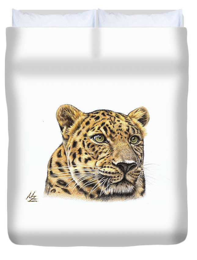 Leopard Duvet Cover featuring the drawing Leopard by Nicole Zeug