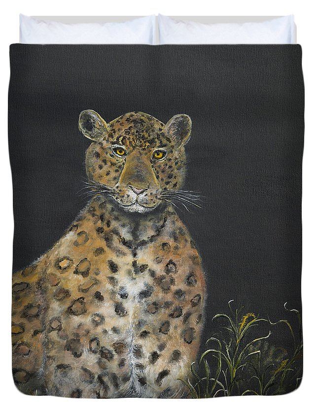 Leopard Painting Duvet Cover featuring the painting Leopard Stare by John Garland Tyson