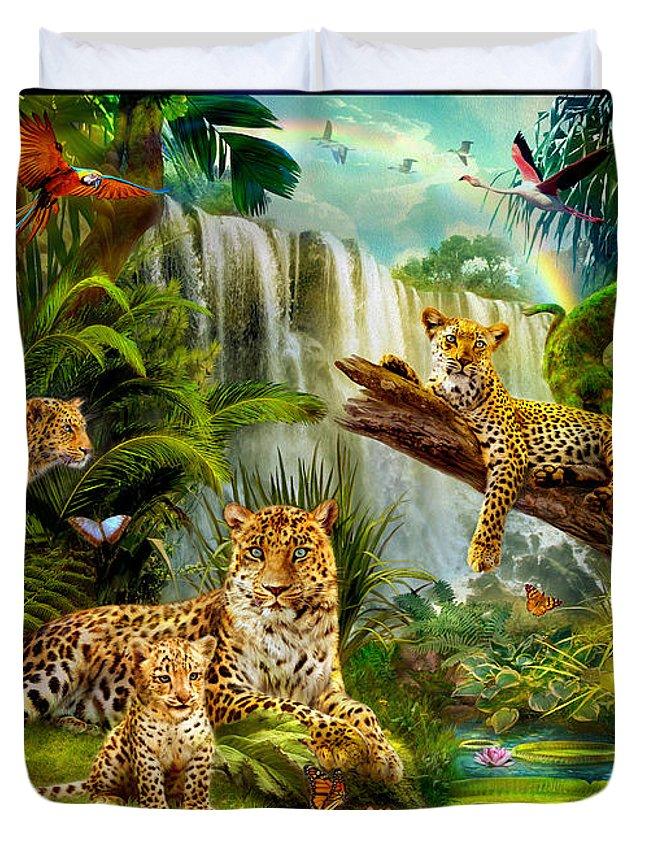 Leopards Duvet Cover featuring the digital art Leopards by Jan Patrik Krasny
