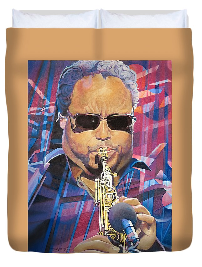 Leroi Moore Duvet Cover featuring the drawing Leroi Moore And 2007 Lights by Joshua Morton