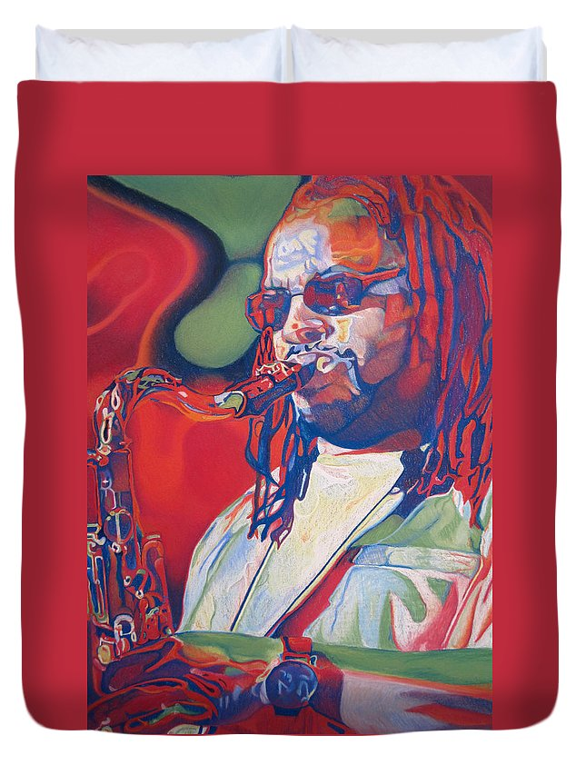 Leroi Moore Duvet Cover featuring the drawing Leroi Moore Colorful Full Band Series by Joshua Morton