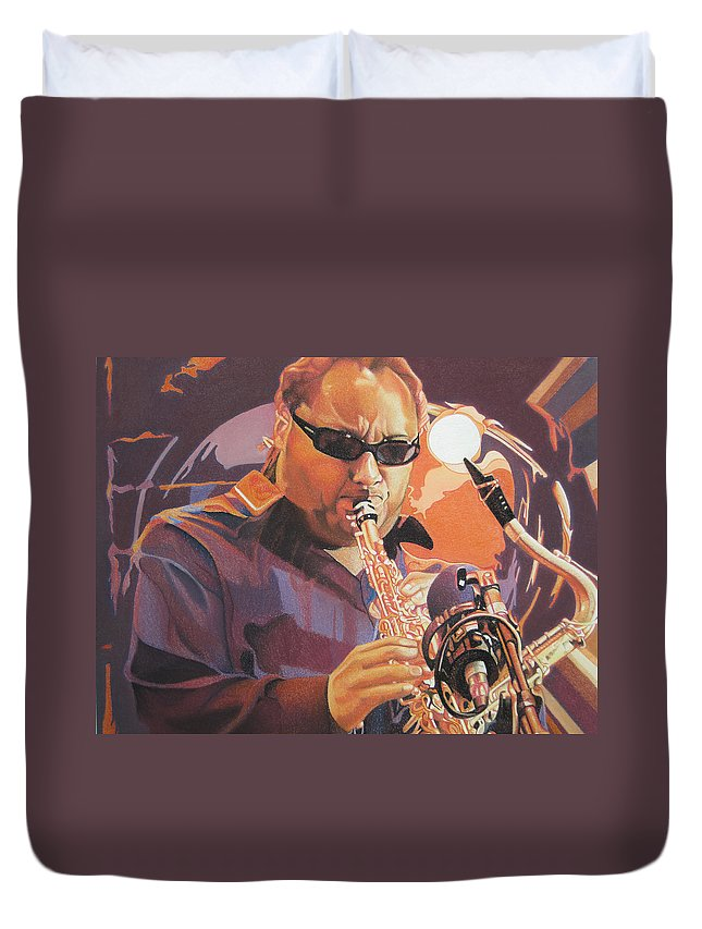 Leroi Moore Duvet Cover featuring the drawing Leroi Moore Purple And Orange by Joshua Morton
