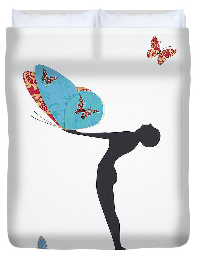 Papillon Duvet Cover featuring the painting Les Papillons, 2008 by Jenny Barnard