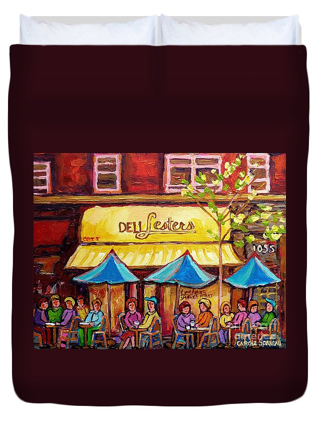 Lesters Duvet Cover featuring the painting Lester's Deli Montreal Smoked Meat Paris Style French Cafe Paintings Carole Spandau by Carole Spandau