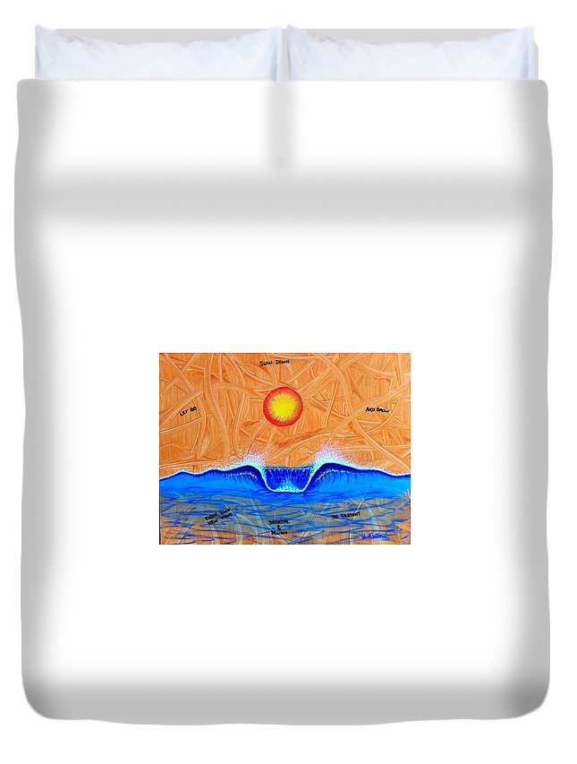 Inspiredart Duvet Cover featuring the painting Let Go And Grow by Paul Carter