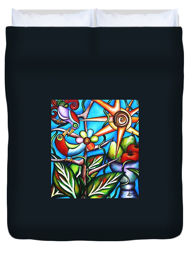 Birds Duvet Cover featuring the painting Let It Be by Annie Maxwell