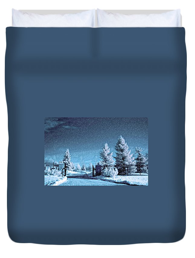 Snow Duvet Cover featuring the photograph Let It Snow Blue Version by Steve Harrington