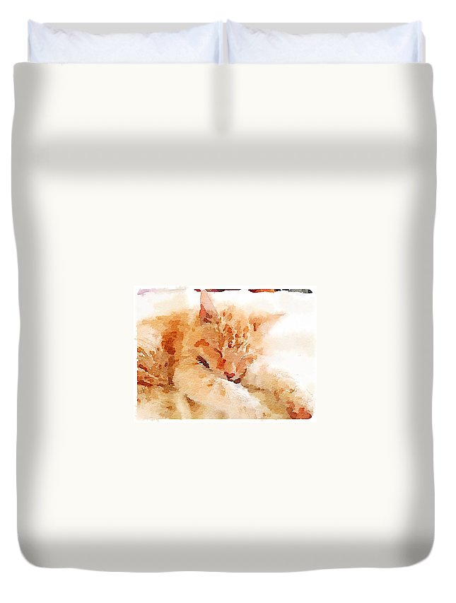 Waterlogue Duvet Cover featuring the digital art Let Sleeping Cats by Shannon Grissom