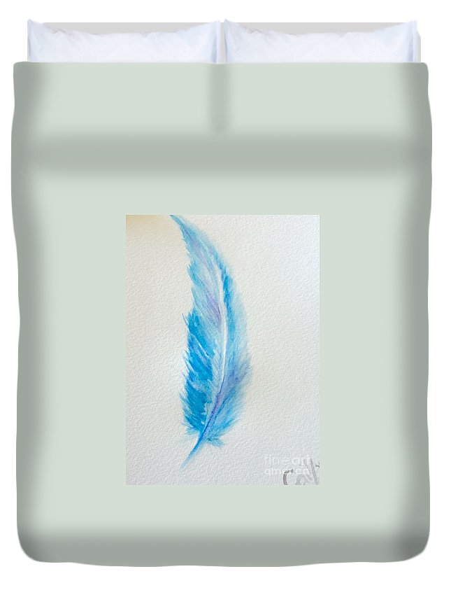 Feathers Duvet Cover featuring the painting Let's Fly Away by Gail Nandlal
