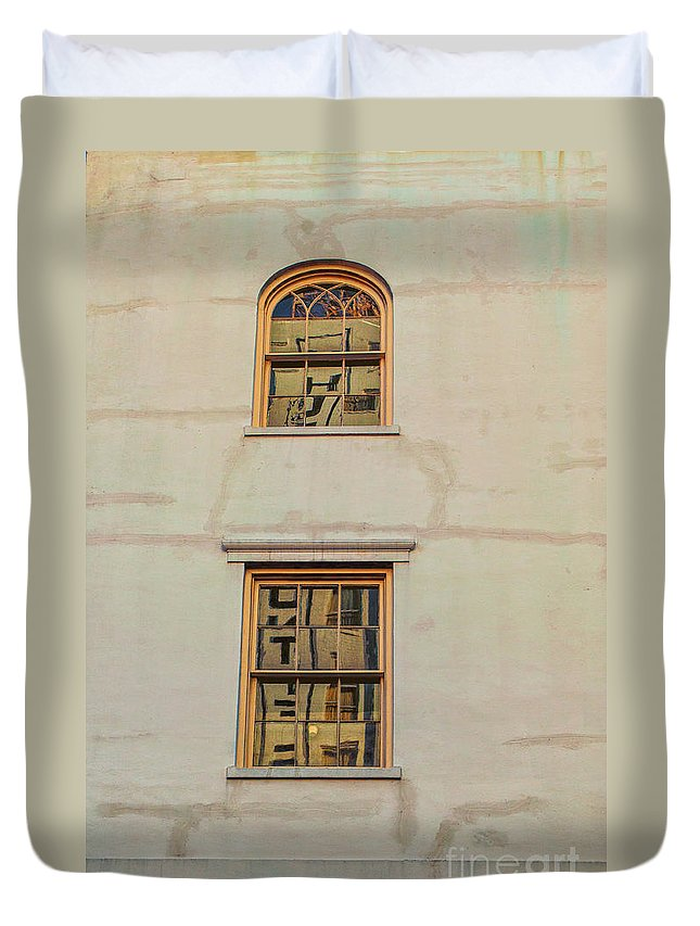 Architecture Duvet Cover featuring the photograph Letters Reflected by Frances Hattier