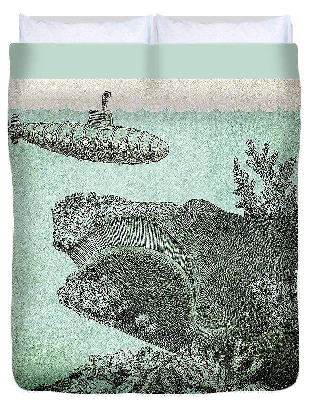 Submarine Duvet Cover featuring the drawing Leviathan by Eric Fan