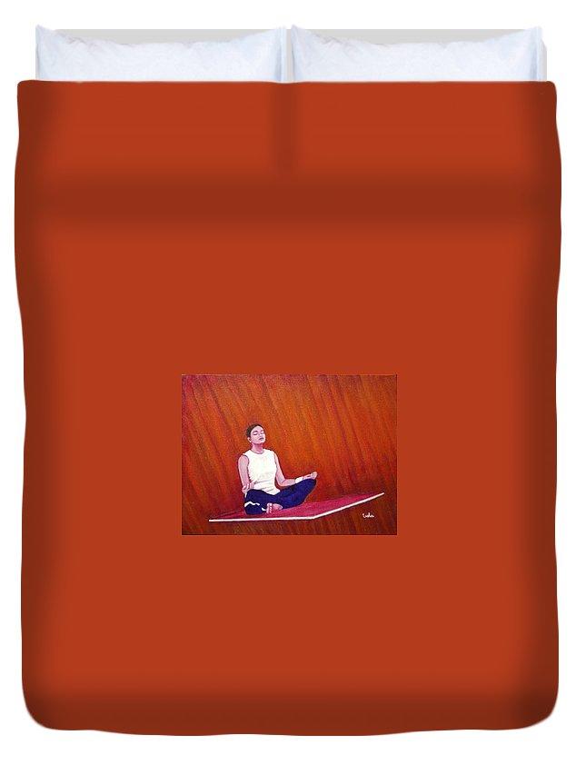Levitation Duvet Cover featuring the painting Levitation by Usha Shantharam