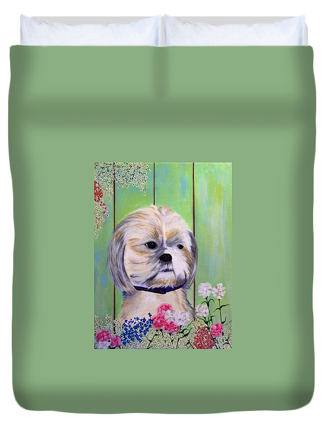 Lhasa Apso Duvet Cover featuring the painting Lhasa Apso by Valerie Josi