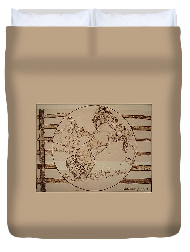 Pyrography Duvet Cover featuring the pyrography Wild Horse by Sean Connolly