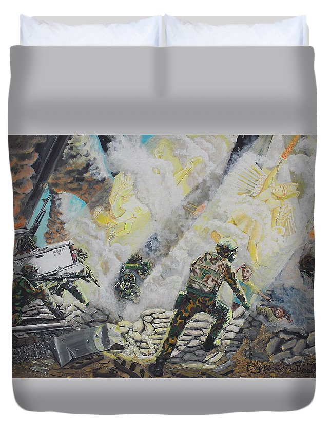 Marines Duvet Cover featuring the painting Liberator's Guardian Angles by Carey MacDonald