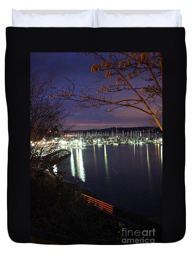 Boat Duvet Cover featuring the photograph Liberty Bay At Night by Vicki Maheu