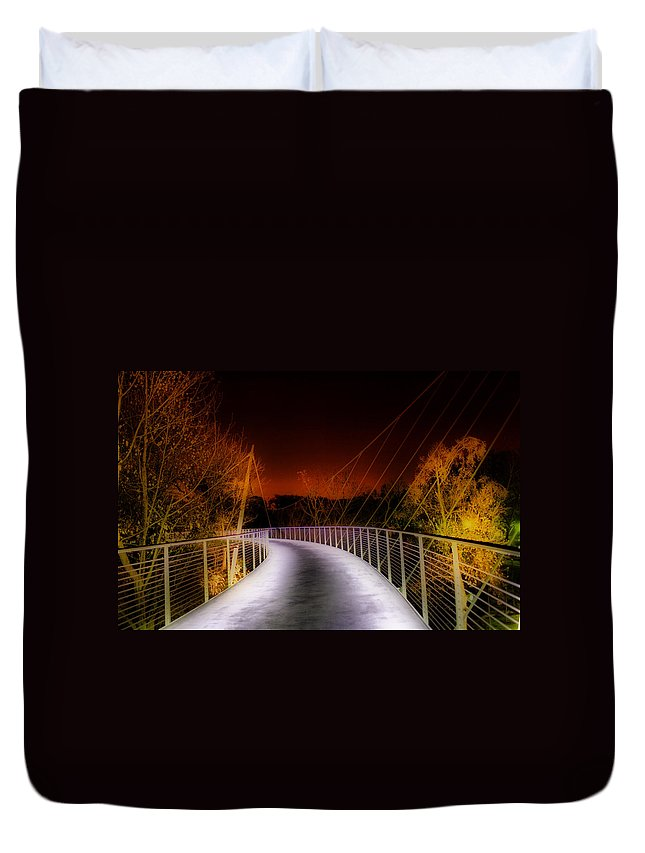 Greenville Duvet Cover featuring the painting Liberty Bridge At Night by Lynne Jenkins