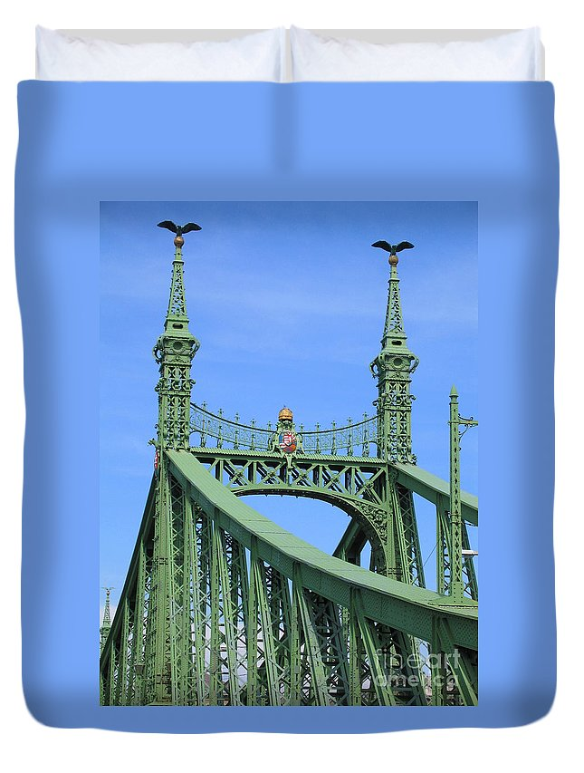 Budapest Duvet Cover featuring the photograph Liberty Bridge Budapest by Ann Horn