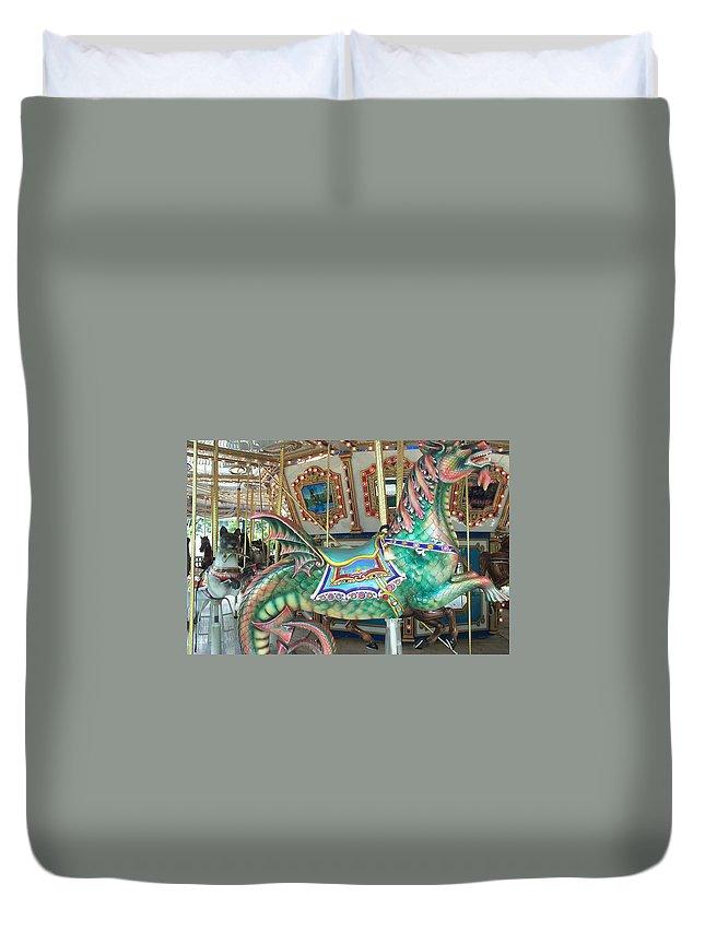 Dragon Duvet Cover featuring the photograph Liberty Dragon by Barbara McDevitt