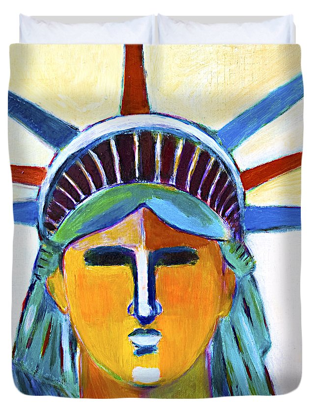 Nyc Duvet Cover featuring the painting Liberty In Colors by Habib Ayat