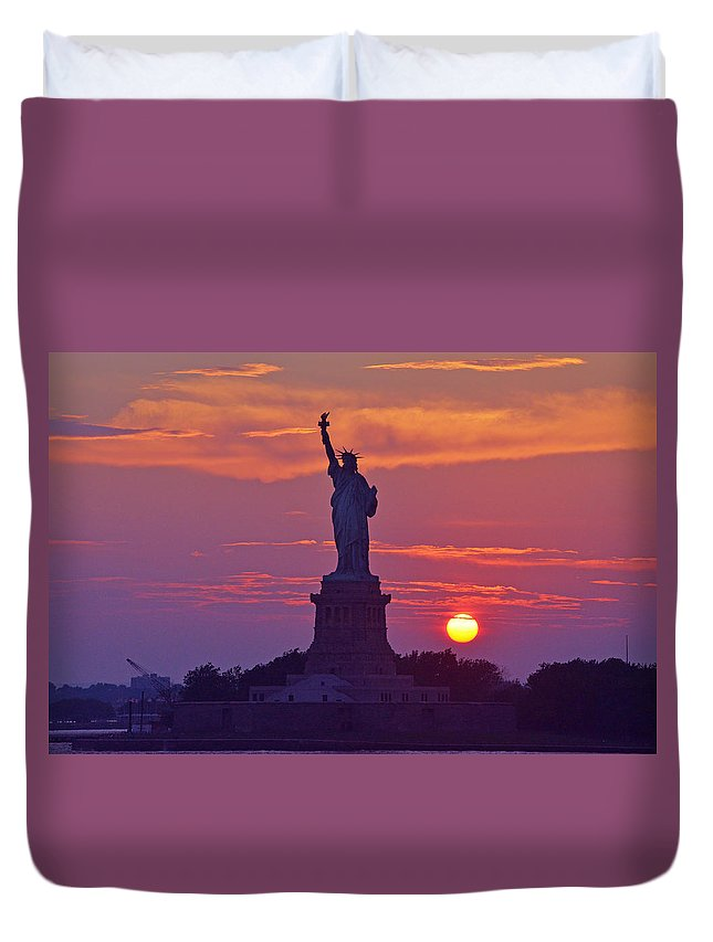 New York Duvet Cover featuring the photograph Liberty Lady by Maria isabel Villamonte