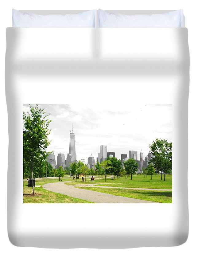 Liberty Duvet Cover featuring the photograph Liberty Park by Larry Jost
