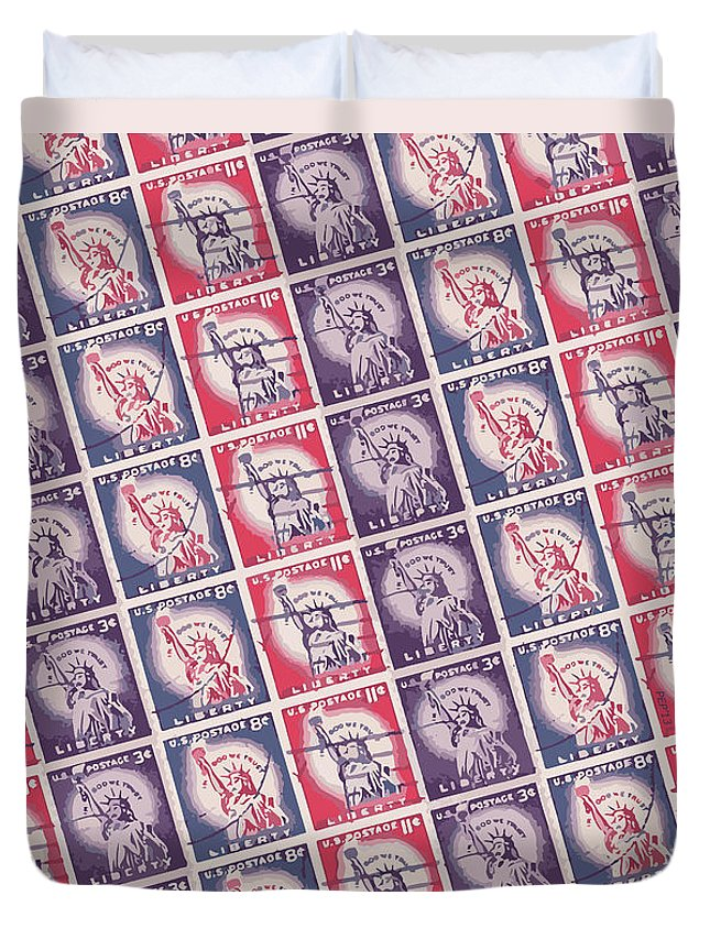 Liberty Duvet Cover featuring the digital art Liberty Stamps Collage by Phil Perkins