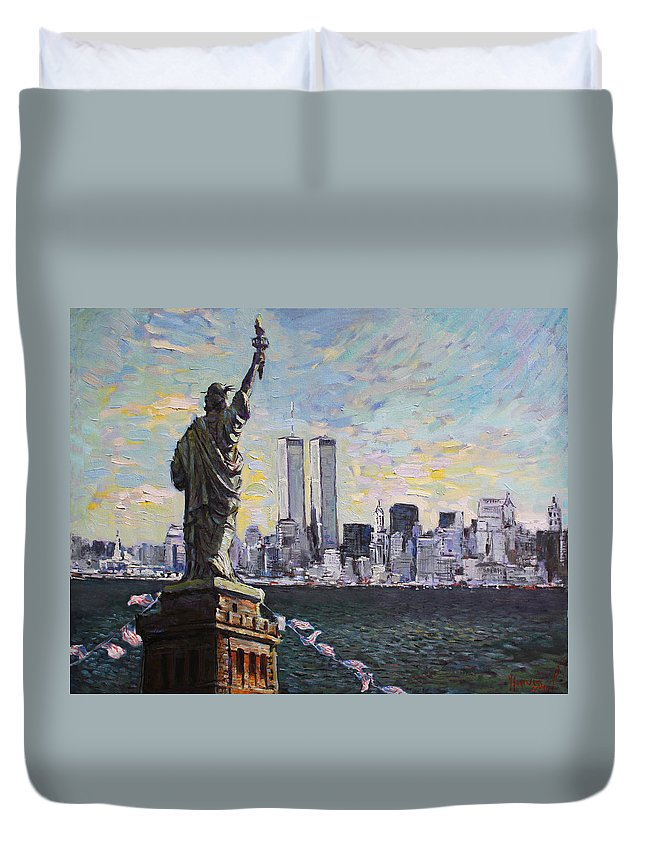 New York City Duvet Cover featuring the painting Liberty by Ylli Haruni
