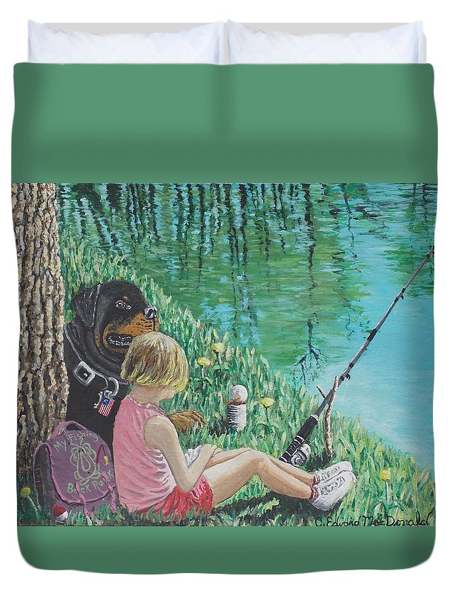 Back Pack Duvet Cover featuring the painting Liberty's Watchdog by Carey MacDonald