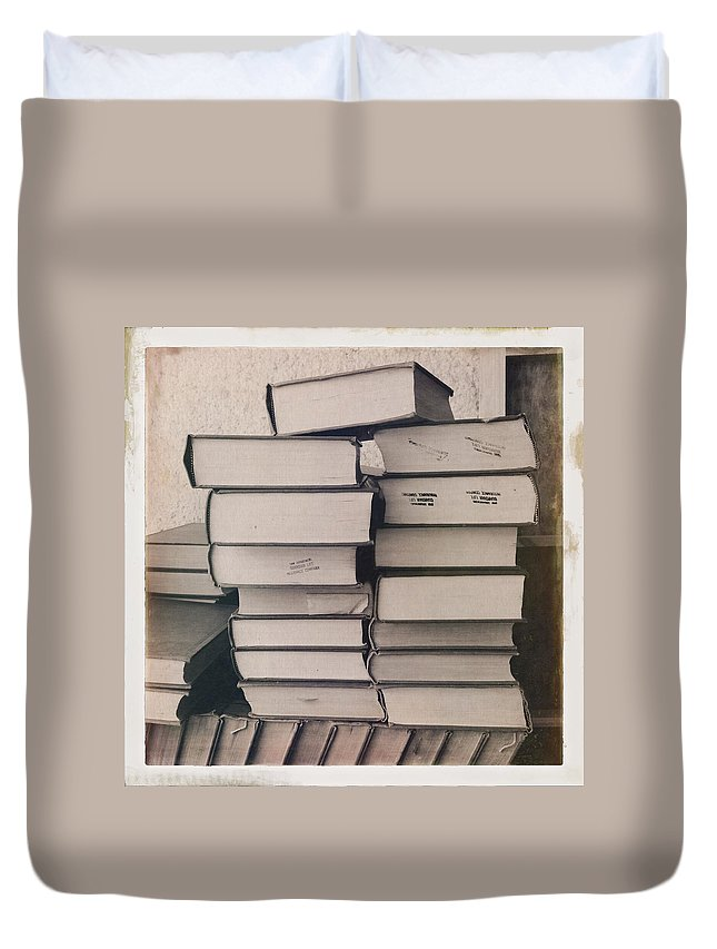 Fine Art Duvet Cover featuring the photograph Library Books by H James Hoff