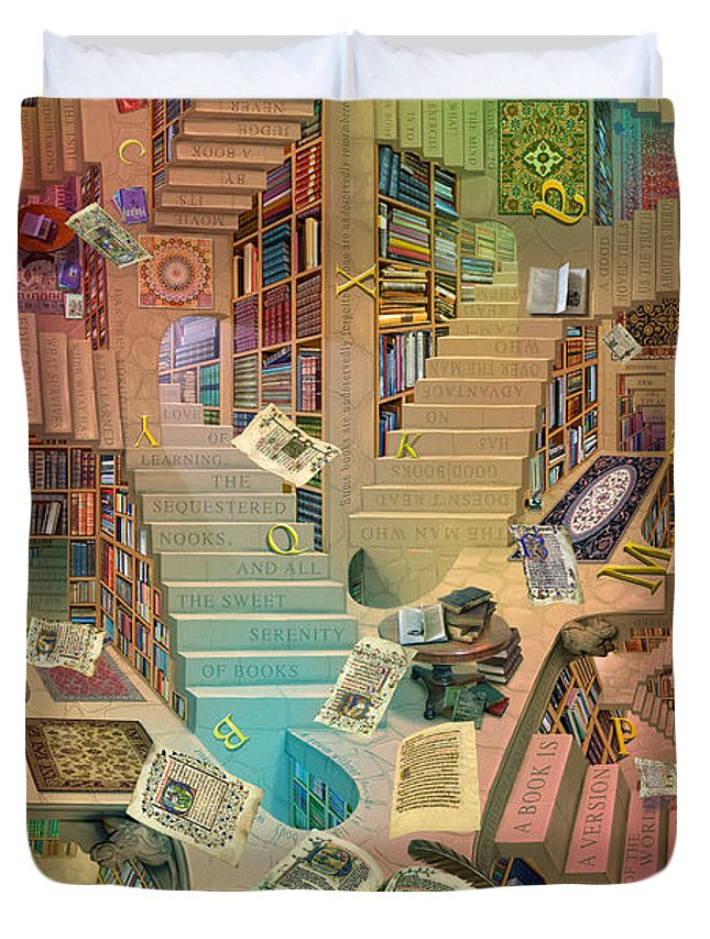 Library Duvet Cover featuring the digital art Library Of The Mind by Garry Walton