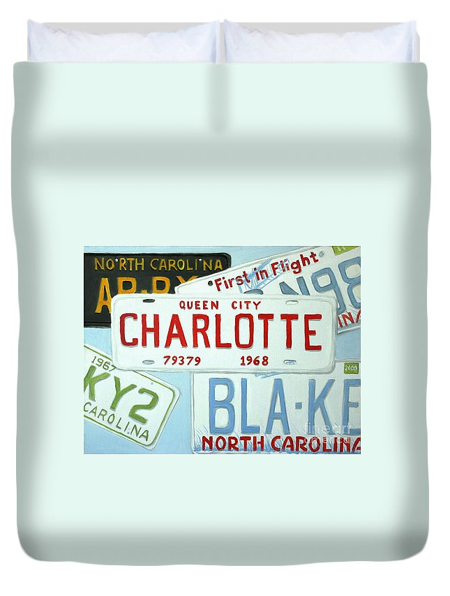 License Duvet Cover featuring the painting License Plates by Stacy C Bottoms