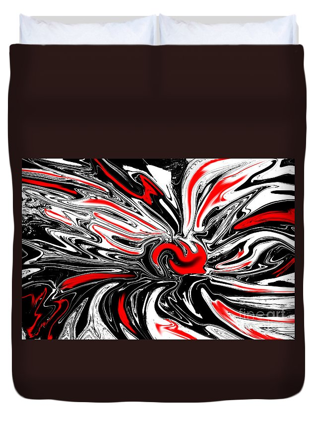 Licorice Duvet Cover featuring the digital art Licorice With Red Cherry by Christopher Shellhammer