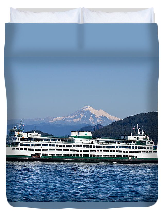 Ferry Boats Duvet Cover featuring the photograph Life Around The San Juan Islands - Washington by Marie Jamieson