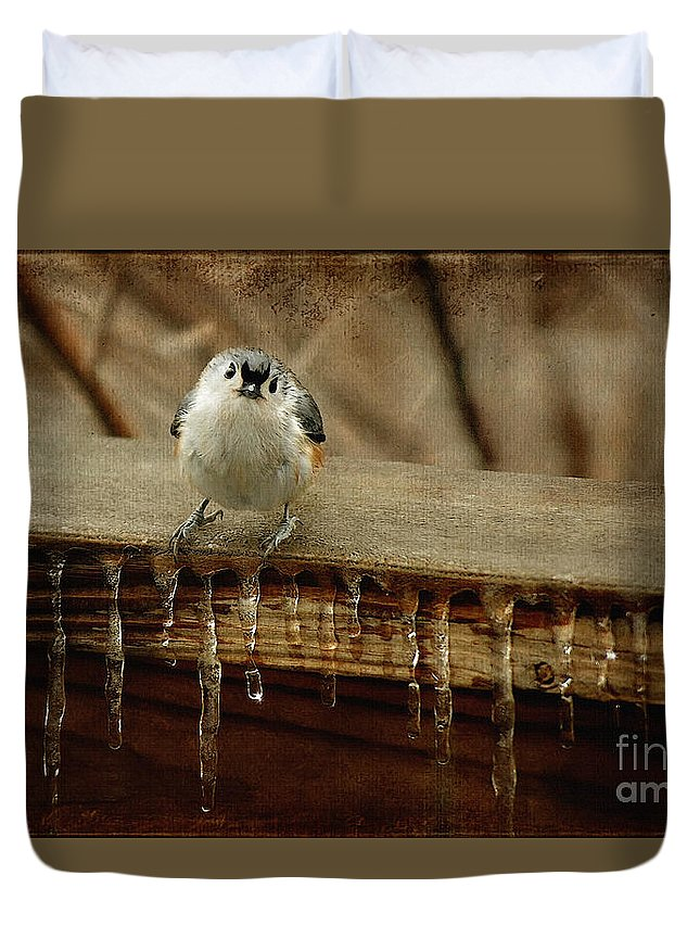 Titmouse Duvet Cover featuring the photograph Life Can Be Tough by Lois Bryan