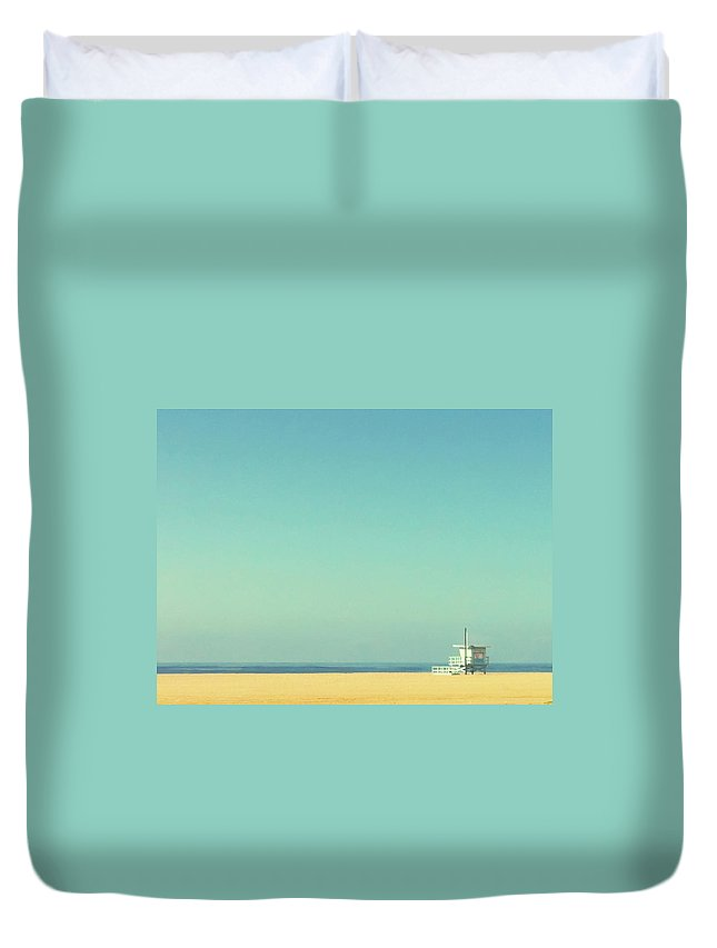 Tranquility Duvet Cover featuring the photograph Life Guard Tower by Denise Taylor