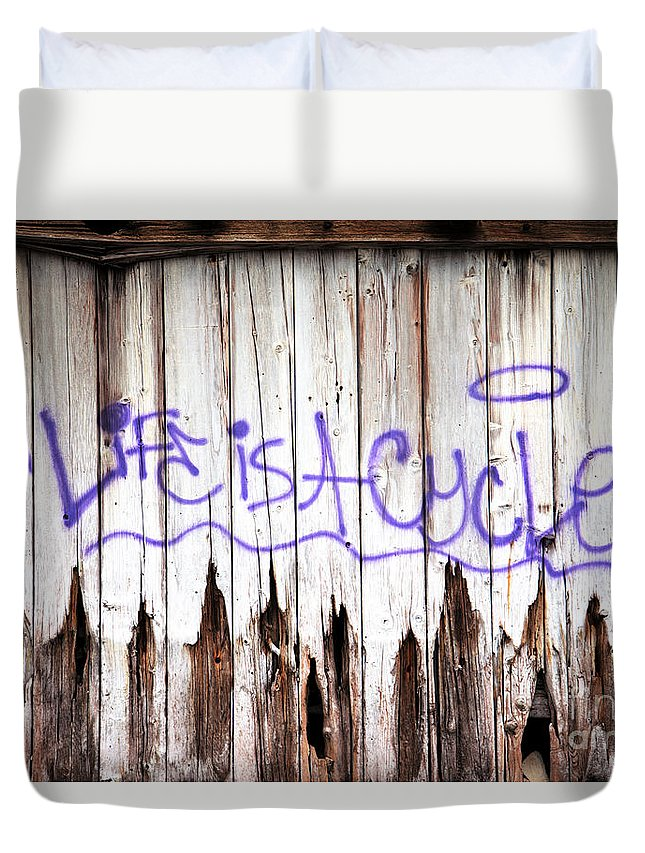 Graffiti Duvet Cover featuring the photograph Life Is A Cycle by Amanda Barcon