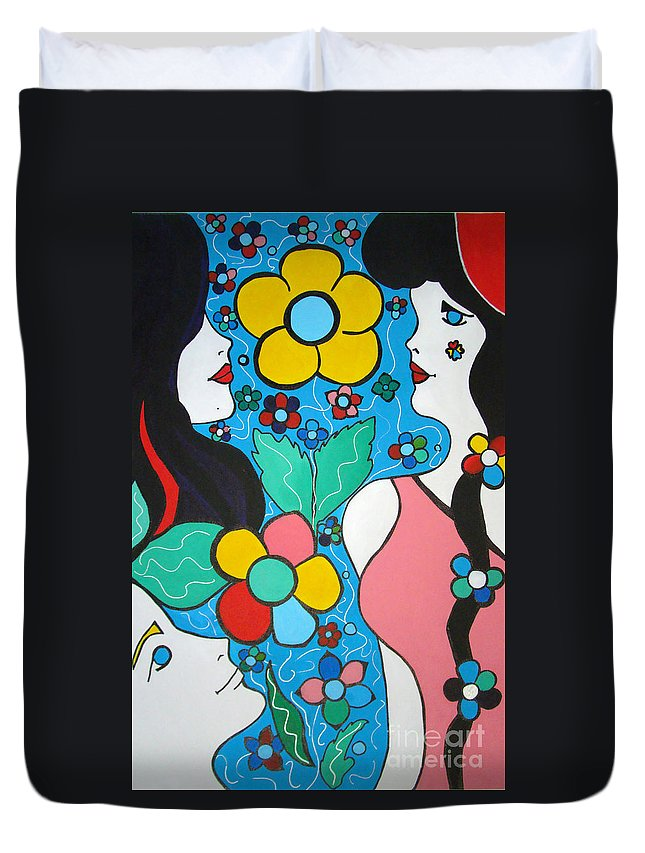Pop-art Duvet Cover featuring the painting Life Is Beautiful by Silvana Abel