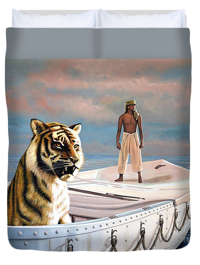 Life Of Pi Duvet Cover featuring the painting Life Of Pi by Paul Meijering