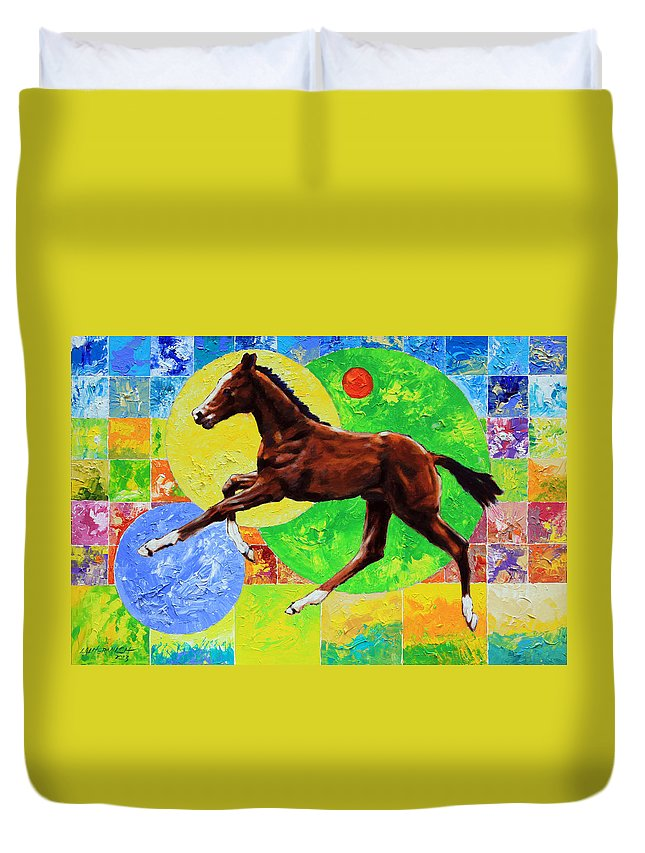 Horse Duvet Cover featuring the painting Life Springs Eternal by John Lautermilch