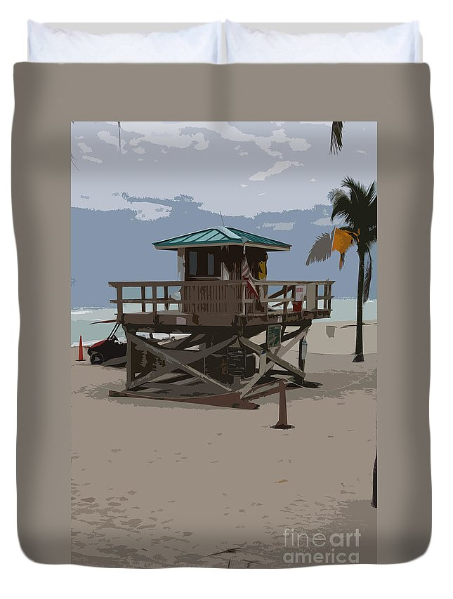 Lifeguard Station Duvet Cover featuring the photograph Lifeguard Station IIi Abstract by Christiane Schulze Art And Photography