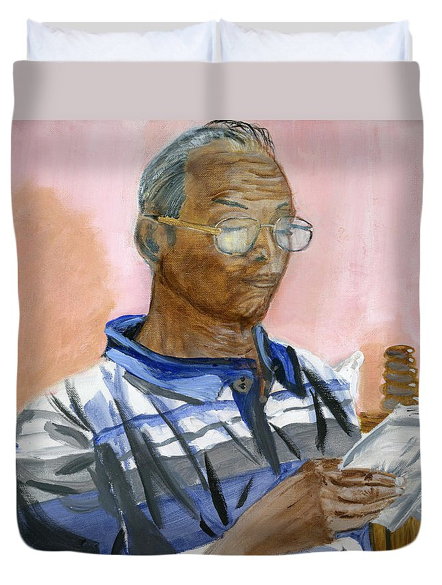 Books Duvet Cover featuring the painting Lifelong Learner by Vaidya Selvan
