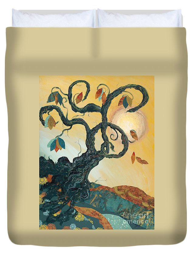 Autumn Duvet Cover featuring the painting Life's Layers by Nadine Rippelmeyer